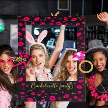 Fun Bachelorette Party Photo Booth Frame Hen Party DIY Selfie Photo Props Bridal Shower Party Decorations Wedding Kiss the Miss(China)
