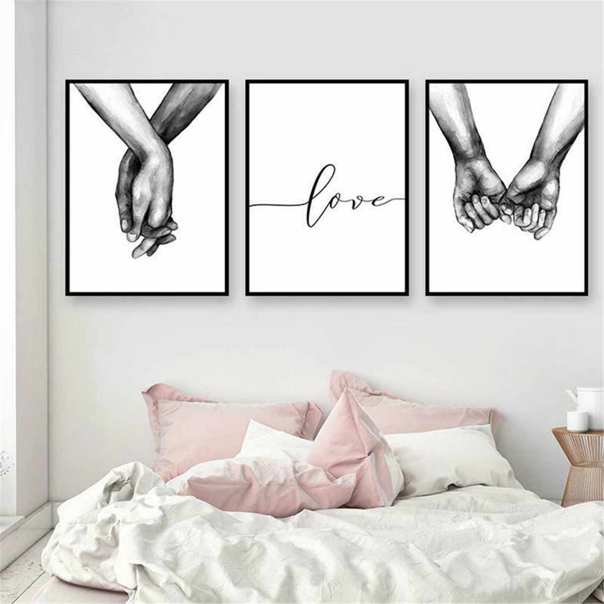 50x70cm Canvas Print Painting Holding Hands Black And White Picture Canvas Prints Painting Love Wall Decor Nordic Poster