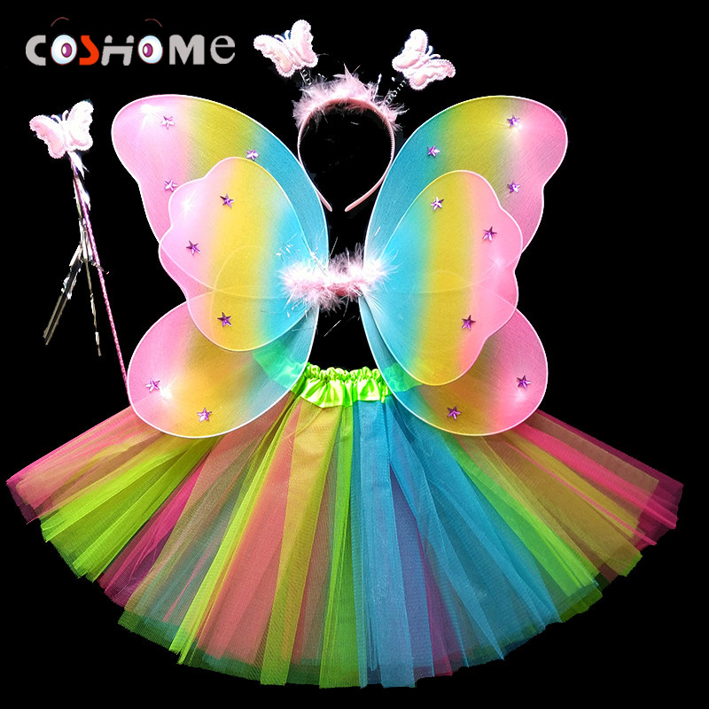 Coshome Children Butterfly Cosplay Princess Costumes Baby Boys Girls Kids Performance Wings+Skirt+Headdress+Wands 4pcs/Set