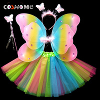 Coshome Children Butterfly Cosplay Princess Costumes Baby Boys Girls Kids Performance Wings Skirt Headdress Wands 4pcs