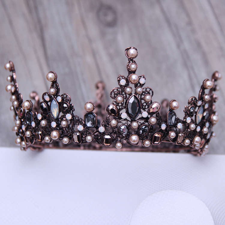Vintage Baroque Tiara Vintage Geometric Beads Tiaras Crowns Hairband Royal Queen Headband for Women Christmas Party Hair Jewelry