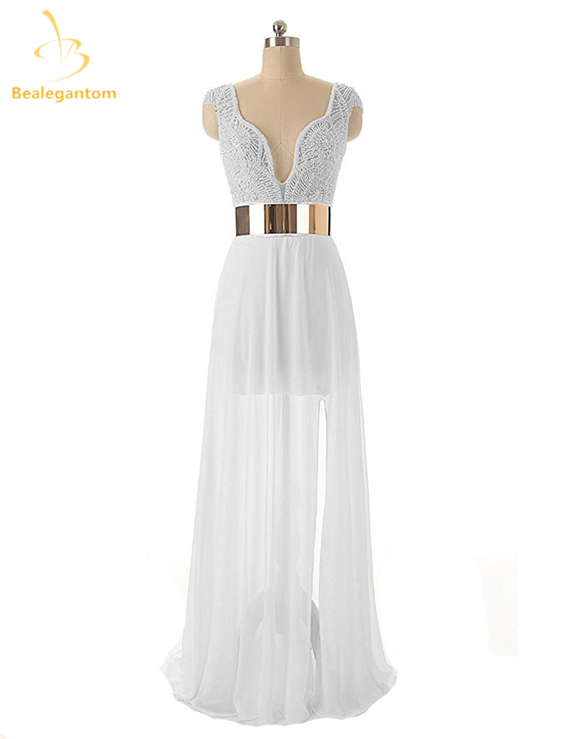 Bealegantom White Long Chiffon A Line font b Wedding b font Dresses 2017 Beaded Plus Size