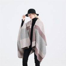 2019 New Women Winter Bohemian Hooded Coat Cape Wrap Poncho Shawl Scarf Cotton and Acrylic Stripe Stole Hoodie Dropshipping