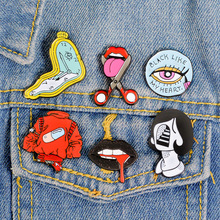 Tongue Lips Enamel Pins Pill Clock Girl Brooches Jeans Shirt Lapel Abstract Pins Bag Badge Turkey Evil Eye Brooch Pin Jewelry все цены