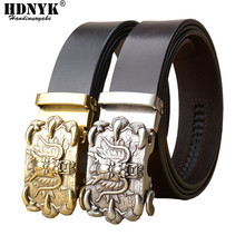 New Famous China Dragon Buckle Belt Men Cowskin Genuine Luxury Leather Mens Belts for Men,Strap Male Metal Automatic