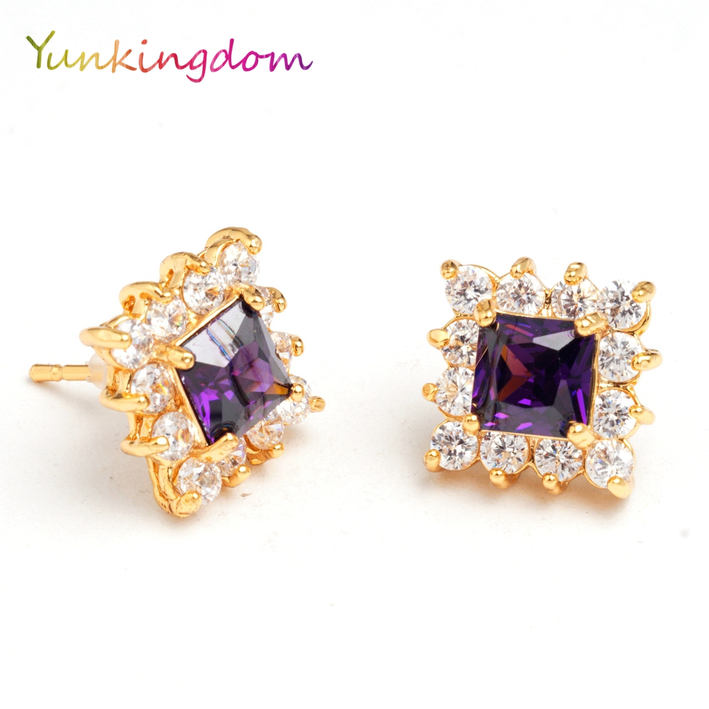 Yunkingdom gorgeous classic plaza crystal stud earrings mujeres fpr aretes joyer