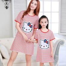 3264b6081 Coton mère enfants chemises de nuit été dessin animé Hello Kitty lapin  neige blanc filles nuit jupe à manches courtes Homewear