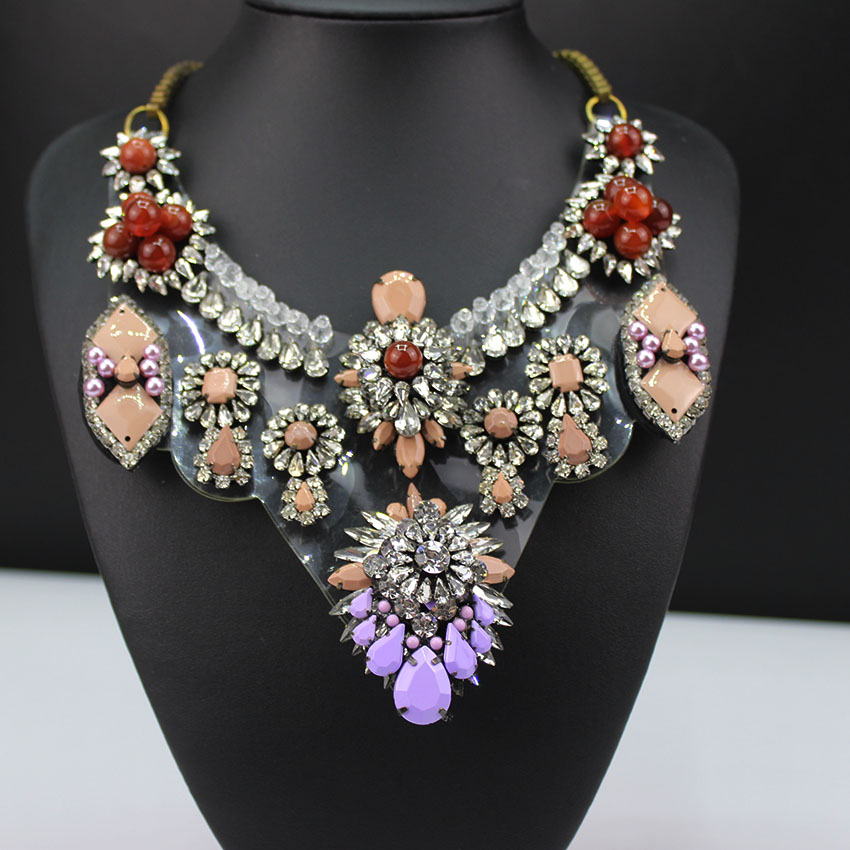 Woman Bib Statement Colorful Shourouk New Design Luxury Rainbow Multi Crystal necklace Collar666