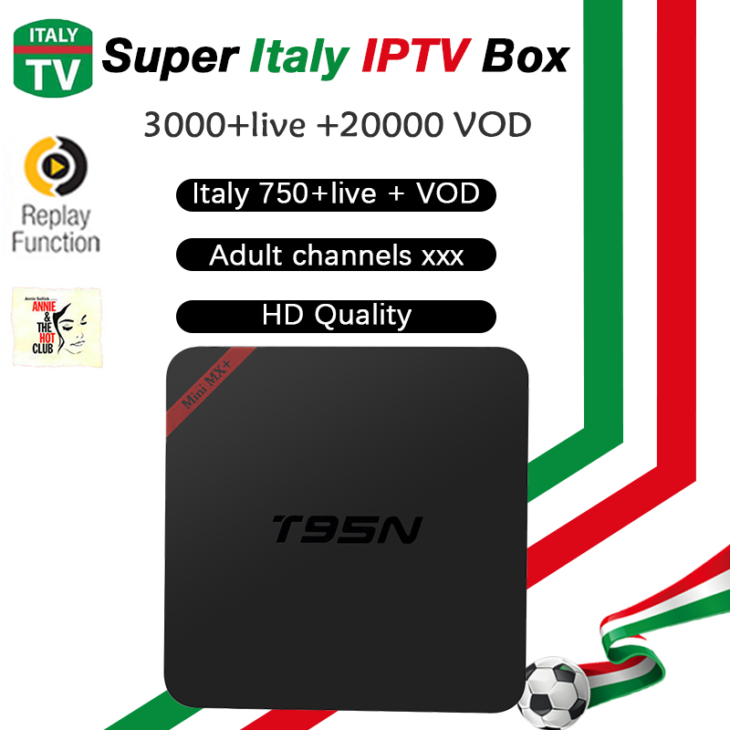 Super Italy IPTV T95N BOX Smart TV BOX Europe Germany UK IPTV Box 3000+LiveTV 20,000+VOD Hotclub android tv box Adult Channel original box uk gec 807 vt60 sound super single price