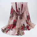 Fashion Women cotton Floral Printed Scarf Autumn Gradient Flower Casual winter Scarves Long Wrap Pashmina 021