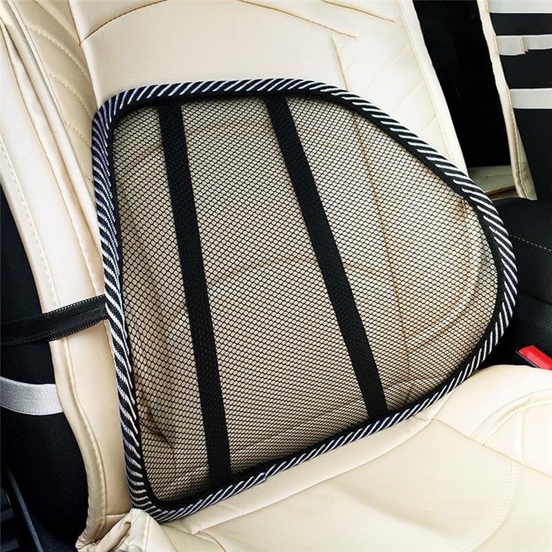 Black Mesh Cloth Car Seat Cushion Lumbar Waist Support Lumbar Pillow Automobiles Office Chair Relief Back Pain Auto Accessories