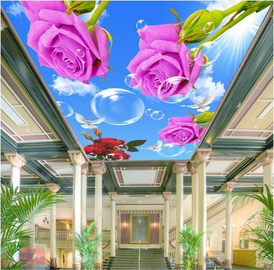 Custom photo 3d ceiling murals wall paper Blue sky rose flower dove room decor painting 3d wall murals wallpaper for walls 3 d custom 3d ceiling wallpaper beautiful sky maple murals for the living room bedroom ceiling wall waterproof wallpaper