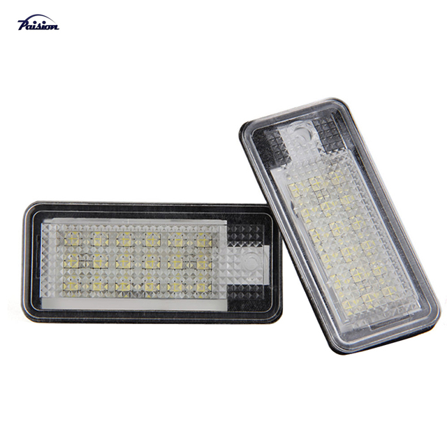 2Pcs 18SMD No Error LED Number License Plate Light for Audi A3 S3 A4 S4 B6 B7 A6 S6 A8 Q7