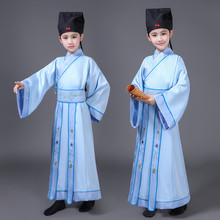 Chinese ancient clothes childrens performance costume traditional boys robe with hat learning three-character