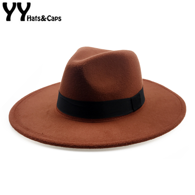 Elegant Orange Wool Fedora Hat for Women Autumn Vintage Trilby Caps Wide Brim Jazz Church Panama Men Felt Bowler Hats YY18111(China)