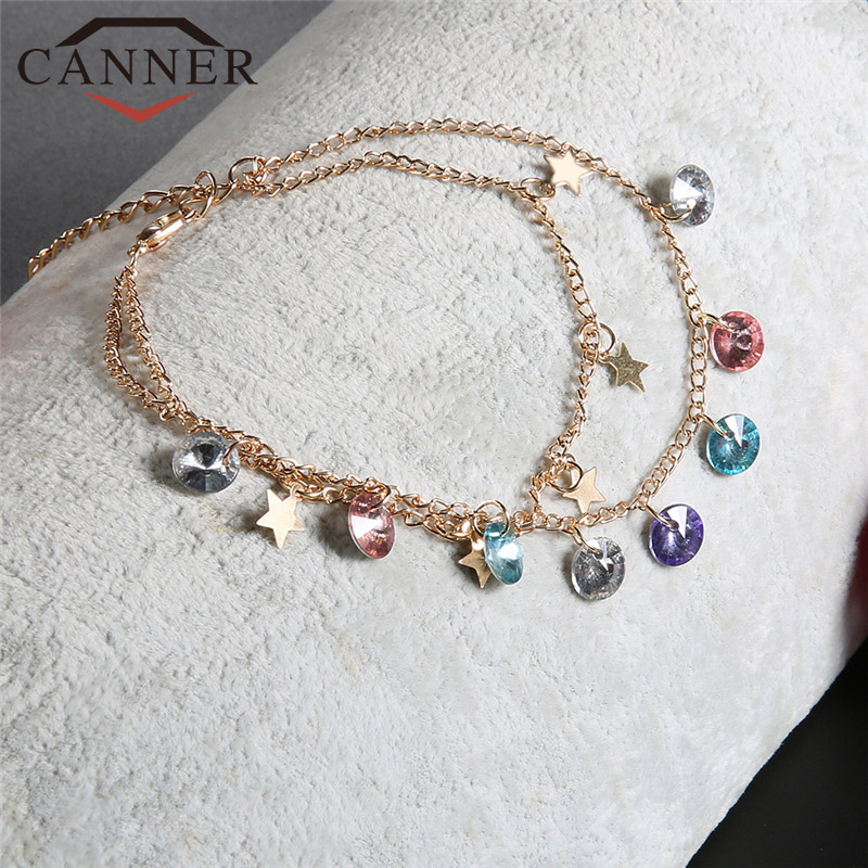 CANNER Double-layer Sweet Colorful Zircon Star Anklet Bracelet Lovely Women Jewelry TW