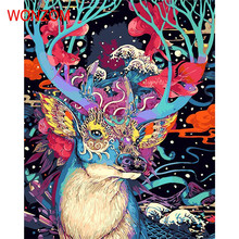 Colorful Deer Abstract Painting By Numbers On Canvas Coloring Cuadros Decoracion Drawing Wall Picture For Living Room