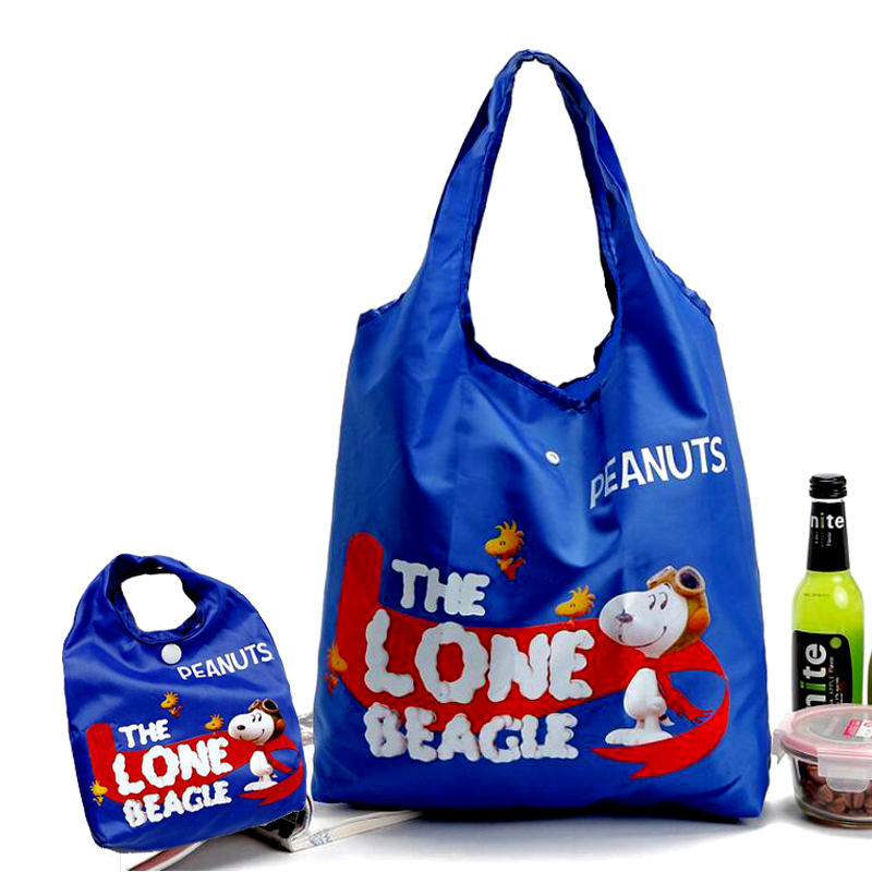 New 3 Colors Eco-Friendly Reusable Shopping Bags Cartoon Large Capacity Collapsible Shoulder Bag