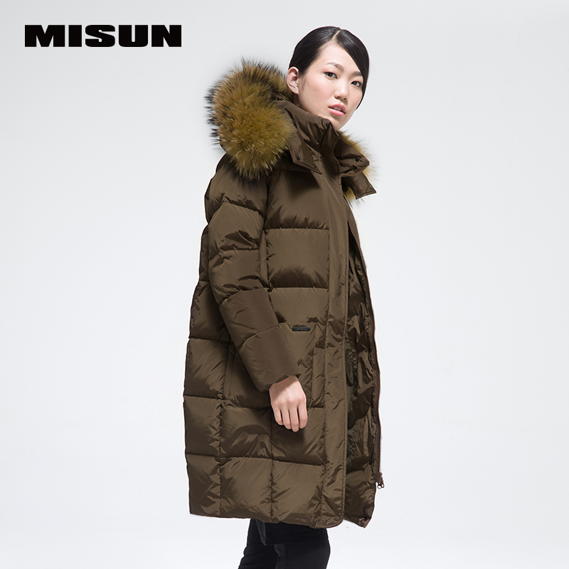 MISUN Womens Clothing Down Jackets 2018 Cocoon Raccoon Big Fur Collar Zip Thickening Medium-Long Hooded Coat Pockets MSD-G702