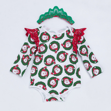 цены Xmas Cotton Baby Rompers Long Sleeve Newborn Girls Clothes Santa Claus Girls Jumpsuit with Headband Infant Christmas Clothing