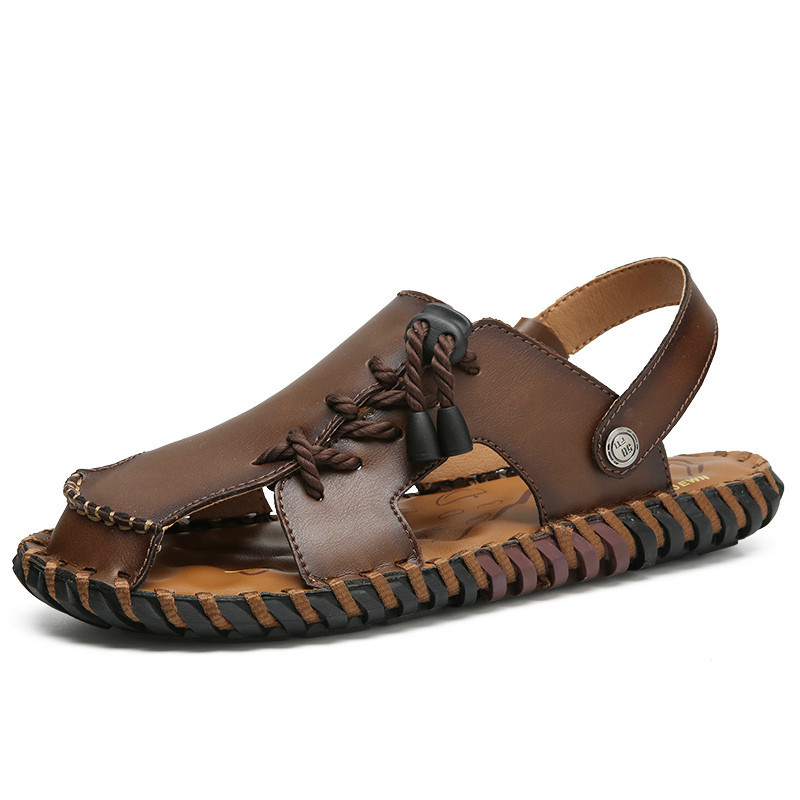Summer Men Sandals Split Leather Men Beach Sandals Brand Men Slippers Casual Shoes Flip Flops Outdoor Sneakers Plus Big Size