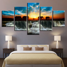 Home Decor Modern HD Printed Paintings 5 Panel Elephant Animal Sunset View Wall Art Frame Canvas Living Room Pictures Tableau(China)