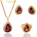 DAZZLING YANG'S Fashion Women Jewelry Sets Gold Plated Champagne Crystal Pendant Necklace Earring Ring wedding Jewelry Sets