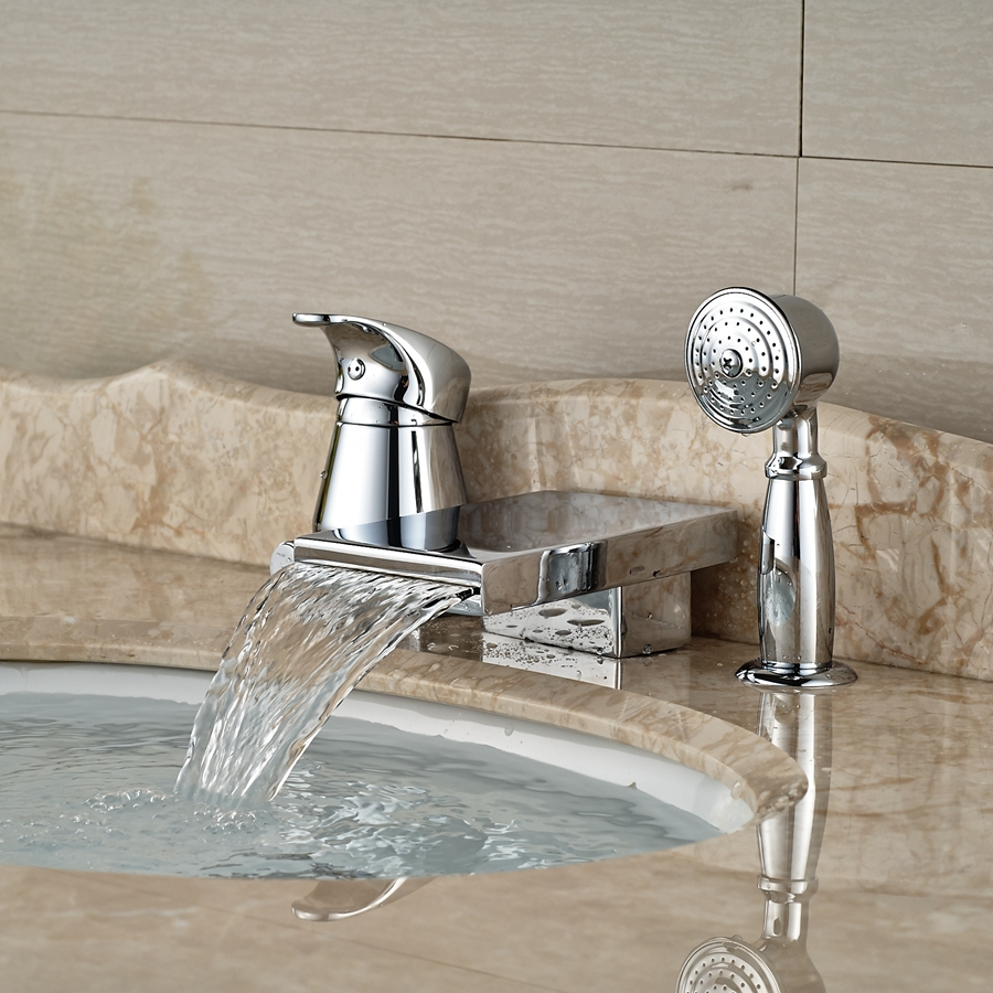 Waterfall Spout Bathroom Faucet: Wholesale And Retail Promotion Polished Chrome Brass
