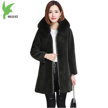 New Autumn Winter Imitation Fur Women Coats Fashion High Quality Solid Color Hooded Fox Fur Collar Slim Wool Jackets OKXGNZ A882