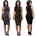 2017 women crystal sexy club dress sheath o-Neck sleeveless spring Knee-Length dresses evening party dress vestidos