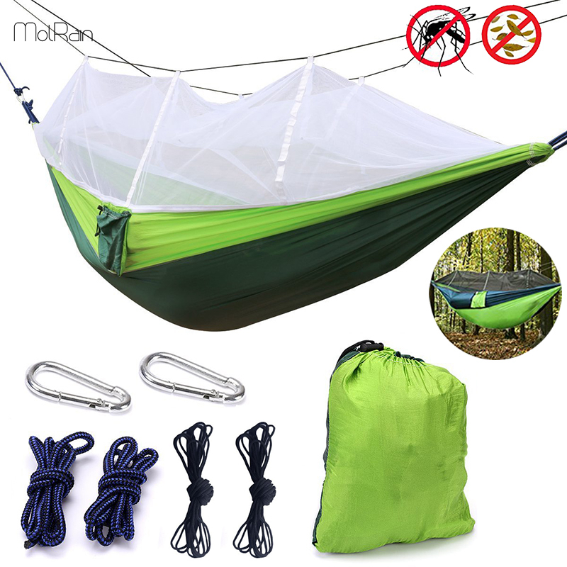 Camping Hammock With Mesh Cover Outdoor Mosquito Net Parachute Hammock Camping Hanging Sleeping Bed Swing Camping & Hiking