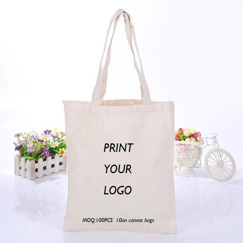 100 sztuk niestandardowe logo torby płócienne torby na zakupy moda na co dzień torby na ramię kobiety torebki z logo w Torby na zakupy od Bagaże i torby na  Grupa 1