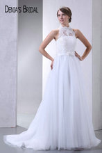 Actual Images Halter Lace A-Line Wedding Dresses Pleats Floor-Length Sweep Train Long Bridal Gowns