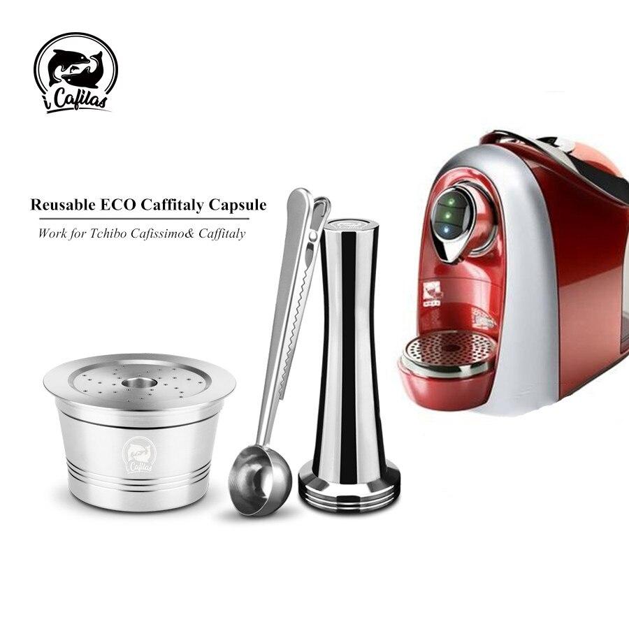Crema Cápsula de Café de Aço Inoxidável Reutilizável ICafilas Filtros Tamper Colher Para Rubi Caffitaly Tchibo Cafeteira Máquina de Café Expresso