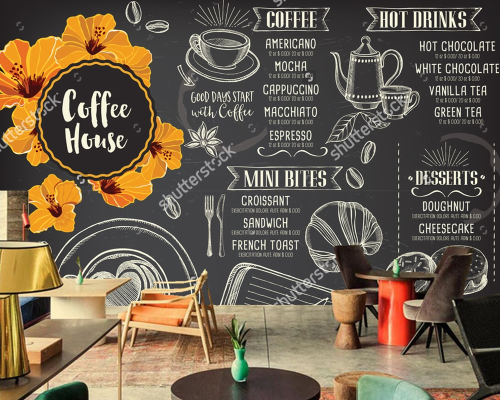 Custom home decoration wallpaper,cafe template with hand-drawn graphic for coffee restaurant hotel background papel de parede 3D custom retro wallpaper finnish wood texture wall mural for bar ktv cafe background wallpaper home decoration papel de parede