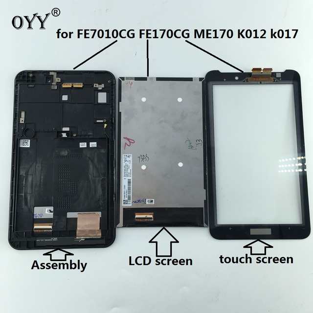 capacitive touch screen LCD Display Digitizer Glass Assembly with frame For ASUS Fonepad FE7010CG FE170CG ME170 ME70C K012 k017