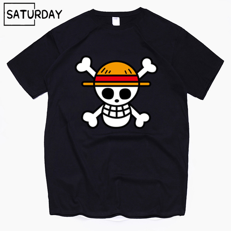 Men's One Piece Luffy Harajuku Funny Cotton T Shirts Unisex Summer Cotton Workout Tshirts Anime Tops Boyfriend Gift Dropshipping(China)