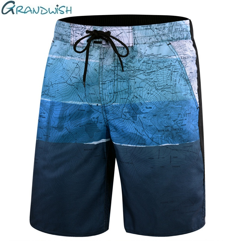 Grandwish Summer Casual Beach Shorts Men Big Size Elastic Waist Mens Board Shorts Printed Outwear Men's Quick Dry Shorts,DA614