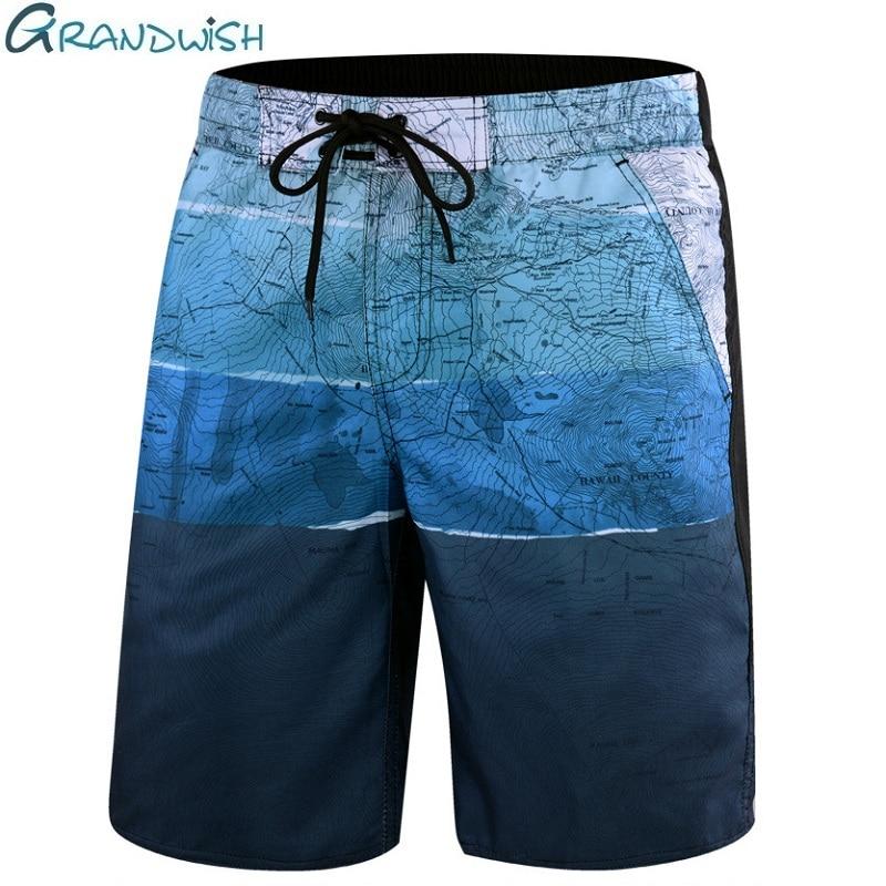 Grandwish Summer Casual Beach Shorts Men Big Size Elastic Waist Mens Board Shorts Printed Outwear Men's Quick Dry Shorts,DA614