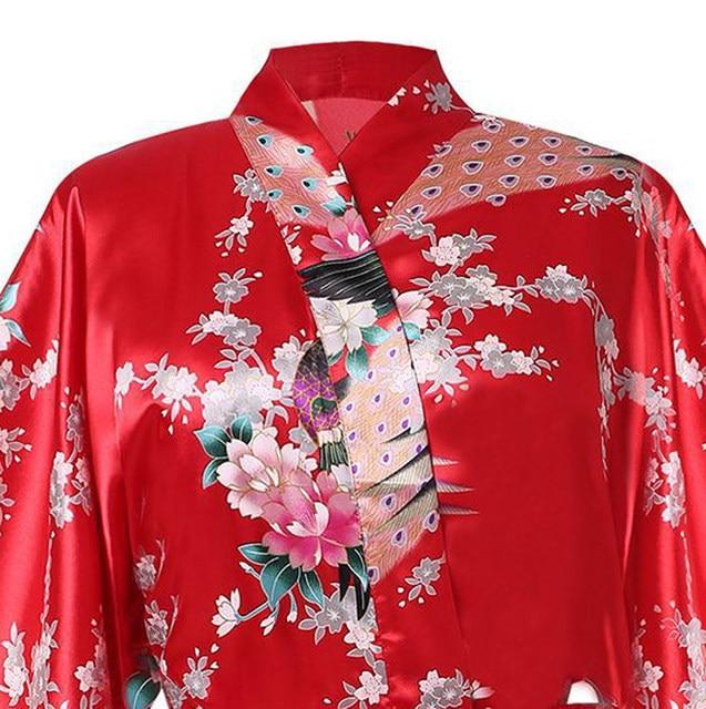 Online Shop White Sexy Flower Yukata Kimono Bath Gown Women Silk ... 8da5f7faf
