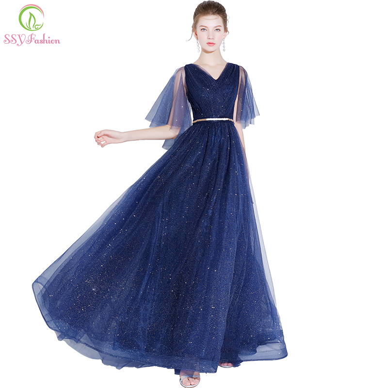 SSYFashion New Simple Prom Dress V-neck Navy Blue Shining Floor-length Evening Party Gown Custom Formal Dresses Robe De Soiree