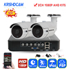 KRSHDCAM 4CH CCTV System 1080P AHD 1080N CCTV DVR 2PCS 3000TVL Waterproof Outdoor Security Camera Home