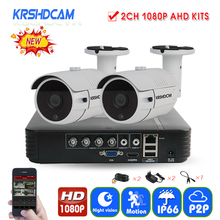KRSHDCAM 4CH CCTV System 1080P AHD 1080N CCTV DVR 2PCS 3000TVL Waterproof Outdoor Security Camera Home Video Surveillance XMEYE