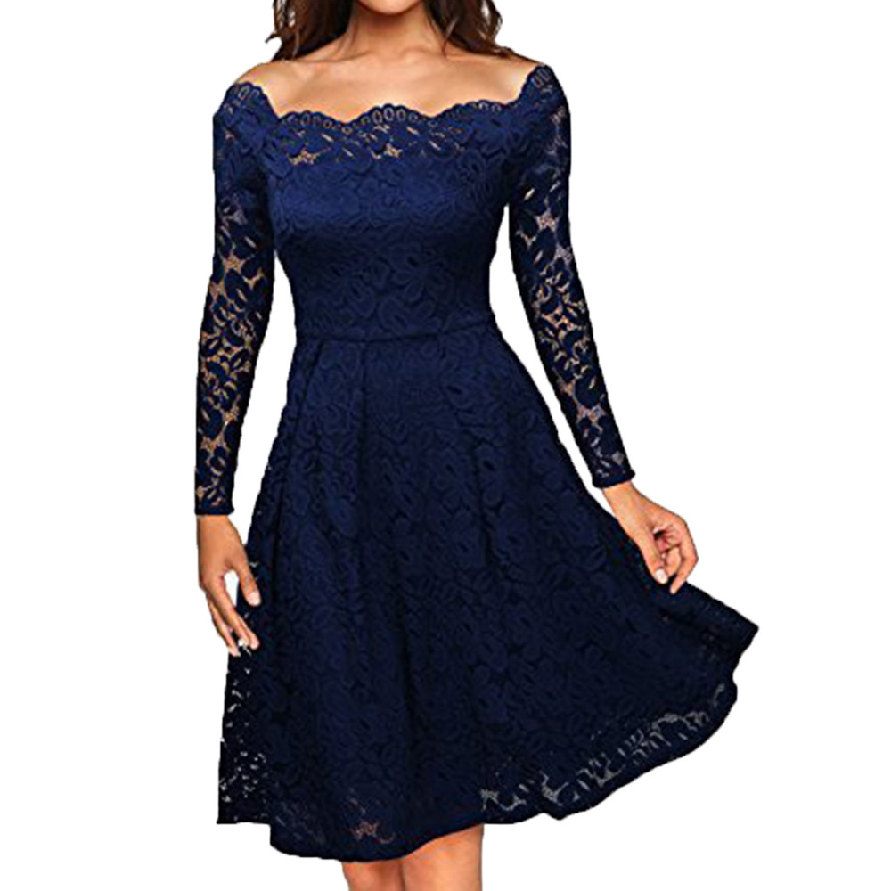 c5892440a73d3 Vintage Women Lace Crochet Formal Dress Autumn Elegant Ladies Casual Long  Sleeve Off Shoulder A Line Office Party Dresses #YL1-in Dresses from  Women's ...