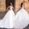 Новое Прибытие Бальное платье Белый Trouwjurk Атласная Кристалл Свадебные Платья 2017 Gelinlik robe de mariage платье de noiva Свадебные Платья