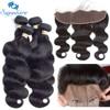 Sapphire Brazilian Wavy Hair 4pcs Human Hair Bundles With Lace Frontal Closure Body Wave Salon Hair