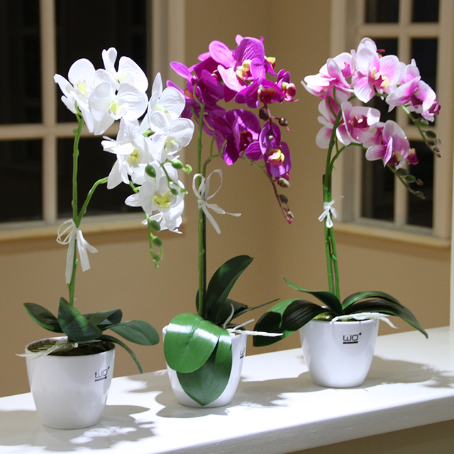 White tabletop simulation butterfly orchid potted set artificial white tabletop simulation butterfly orchid potted set artificial silkflowers small bonsai green plants pot wedding home mightylinksfo