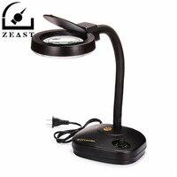 220V Adjustable Brightness Desktop Magnifier 36 LED Glass Lighting Table Electronic Magnifying Lamp Magnifier Tools EU Plug