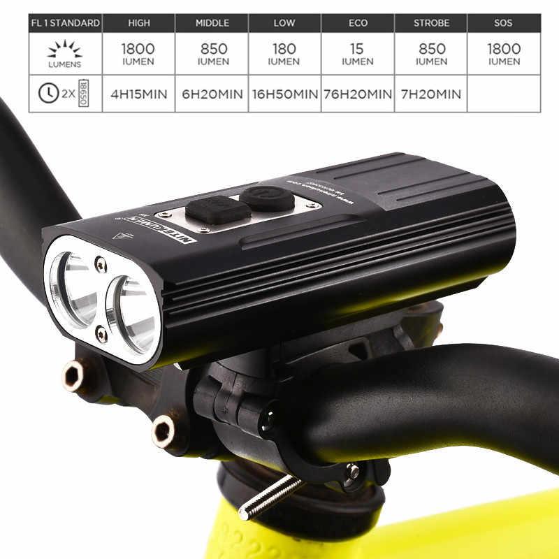 NITENUMEN X8 перезаряжаемая велосипедная фара Водонепроницаемая 1800 Люмен USB светодиодный высокопроизводительный 18650 литий-ионный велосипедный, зарядка от USB света