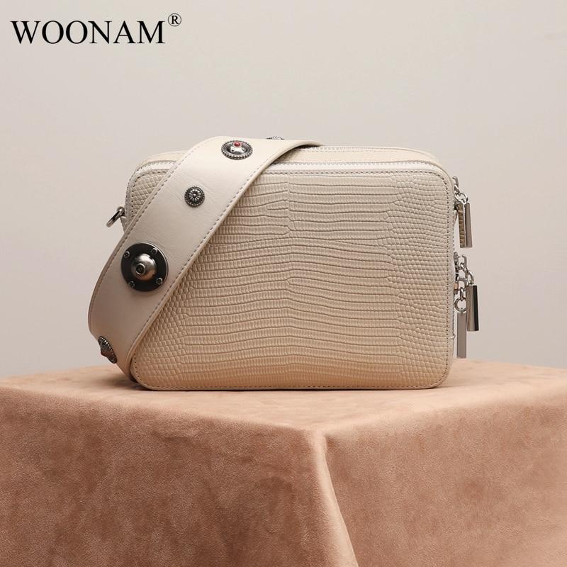 WOONAM Women Handbag Top Hide Genuine Calf Leather Lizard Pattern Studs Small Zip Box Camera Shoulder Satchel Bag WB868